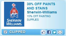 Printable Coupon – 30% Off Paints and Stains 15% Off Painting Supplies at Sherwin Williams